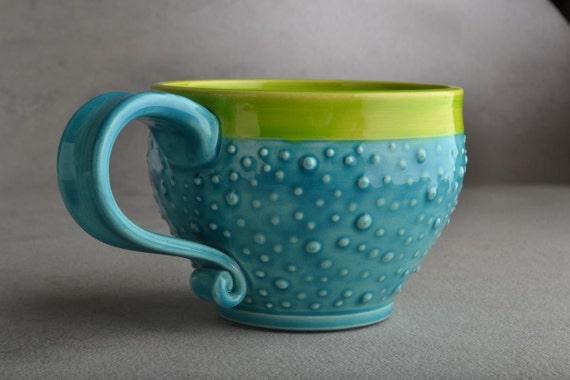 Dottie Mug: Caribbean Blue Neon Green Dottie Soup Cocoa Coffee Tea Mug