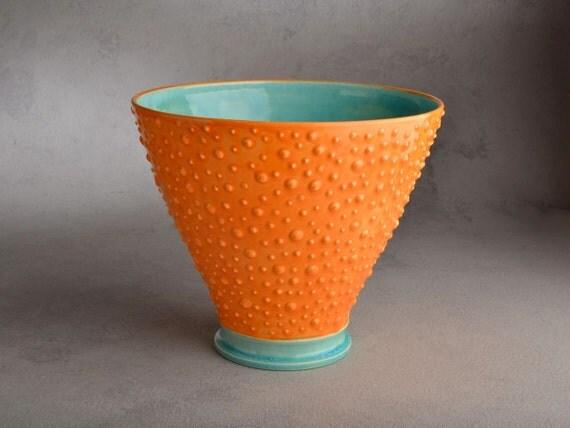 Dottie Vase : Orange and Blue Dottie Vase by Symmetrical Pottery