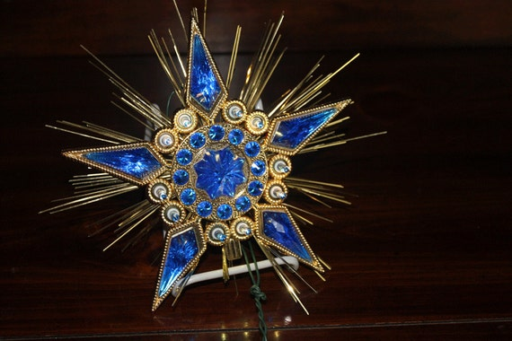 Retro Christmas Tree Topper Blue And Gold