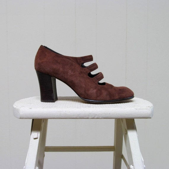 Vintage 1980s Shoes / 80s Brown Suede Sacha London Mary Janes / 8 B US