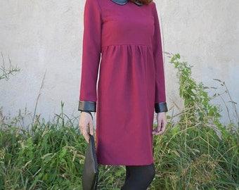 60s mod peter pan collar dress retro long sleeves custom made