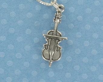 Cello Necklace - 925 Sterling Silver - on Gift Card with Quote by Pablo Casals