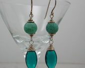 Teal Blue Quartz and Crab Agate Sterling Silver Earrings