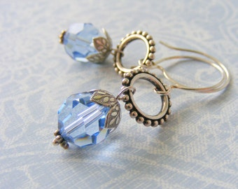 Sterling silver earrings, blue Swarovski crystal drop