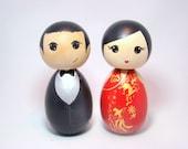 Kokeshi Doll Ethnic Wedding Cake Toppers Custom Hand Painted