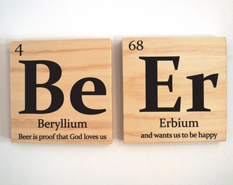 "Beer wall tiles with quote ""Beer is proof that God loves us and wants us to be happy"""