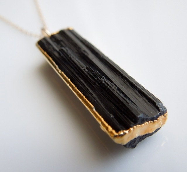 black tourmaline necklace with gold best seller similar
