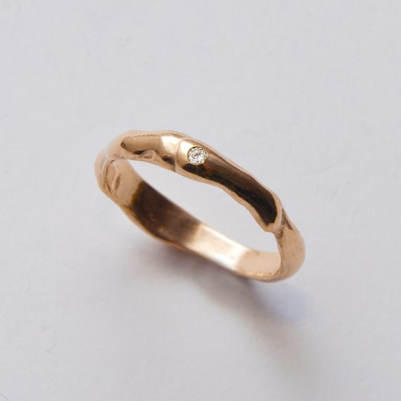 Wrap No.2 - 14k Gold and Diamond Ring , Unisex Ring , Engagement Ring , Engagement Band , Mens Ring, AA