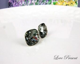 Christmas Bridemaids Earrings - Grand Black Diamond Elegant Square Swarovski Crystal earrings stud style (Custom made)
