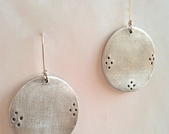 Fine Silver Circle Cosmos Earrings