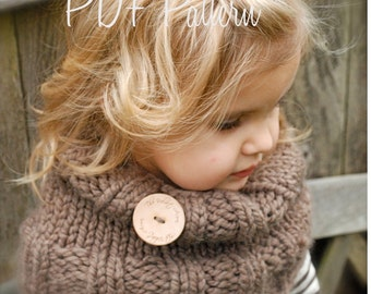 Knitting PATTERN-The Brooklynn Cowl (Child, and Adult sizes)