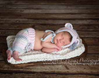 Little Miss Bear Bonnet and Crochet Baby Pants- Diaper Cover in Pale Pink, Gray and Ecru Available in Newborn to 6 Month Size- MADE TO ORDER