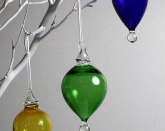 green drop blown glass ornament
