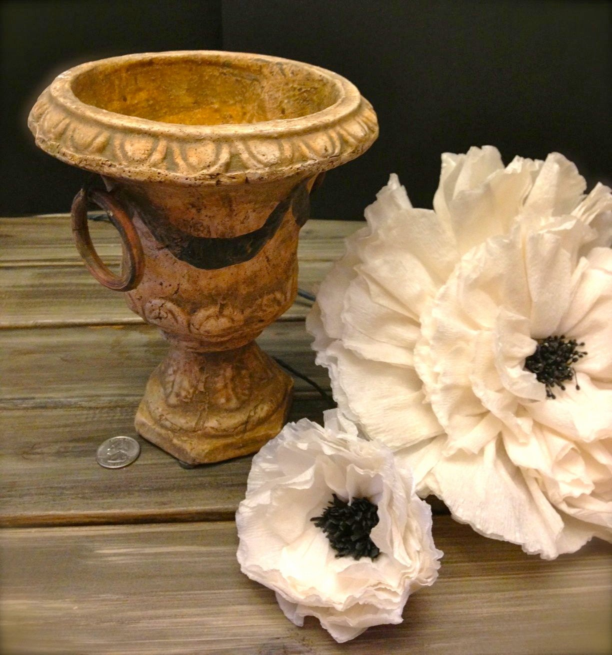 vintage shabby chic wedding vase urn. Black Bedroom Furniture Sets. Home Design Ideas