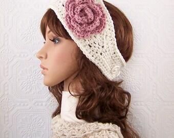 Crochet headband, headwrap, earwarmer - ivory - handmade Winter Fashion Winter Accessories Sandy Coastal Designs