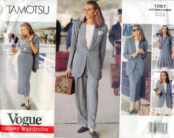 Vogue 1087 Tamotsu Wardrobe Jacket Top Dress Skirt Pants B36 B38 B40 Uncut