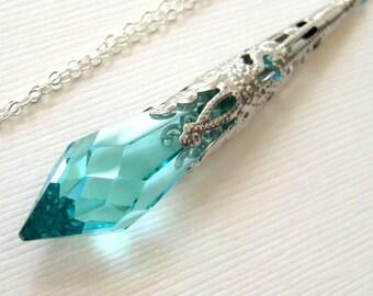 Aqua necklace, Antique Silver Necklace, Ocean blue Swarovski crystal necklace, Victorian necklace, Sea green pendant,  Beach wedding jewelry