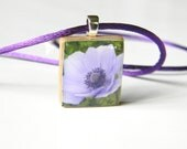 Scrabble tile Anemone photo pendant - letter V
