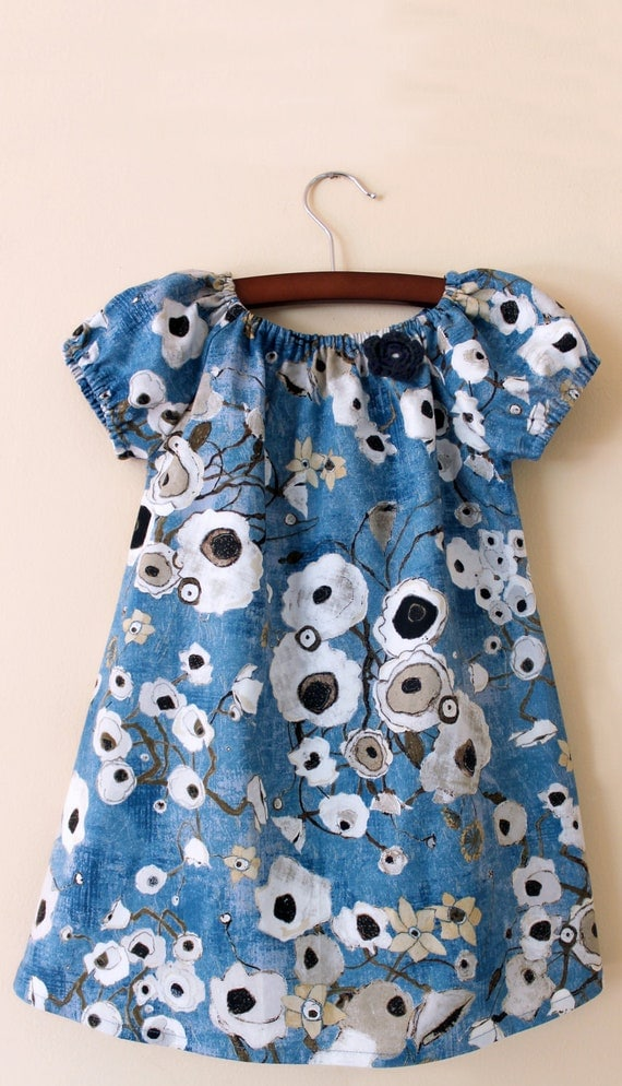 Peasant toddler dress Blue poppies 2T - Ready to Ship