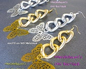 Chunky Bold Thick Large Chain Link Dangle Charm Statement Earrings- DANCING BUTTERFLIES