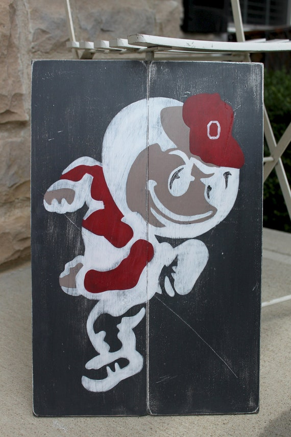 Ohio State Buckeyes, Brutus, OSU Wood Wall Art, Distressed Sign, Vintage Style