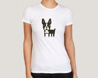 Boston Terrier t-shirt, women's S, M, L, XL. White, pink and cream.