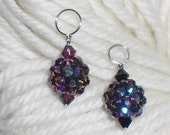 SALE - Purple Polymer Clay & Crystal Stitch Markers - Set of 2 - Size 7 or Size 10