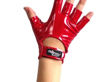 4-way stretch vinyl fingerless mini gloves