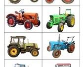 Digital Art Print: 8 Vintage Tractors
