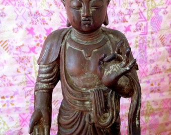 Antique Wooden Buddha on Lotus