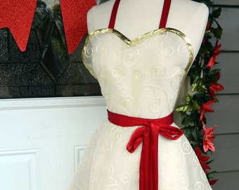 Hostess Apron - Embroidered Chiffon and Red Satin