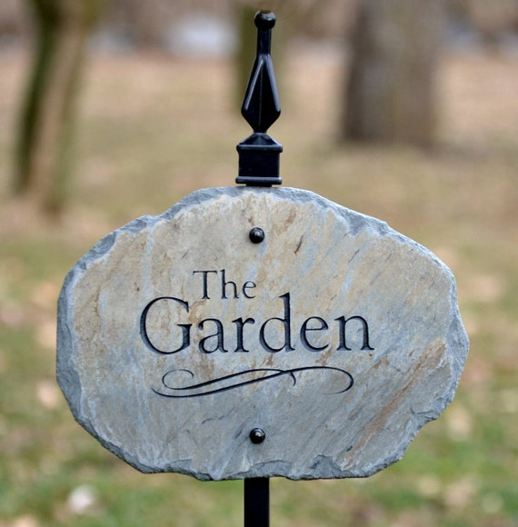 Items similar to carved garden sign marker with stake