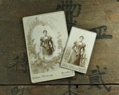 "2 pc - Vintage Mourning Cabinet Card and CDV Photo ""German Woman"", Photography, Paper Ephemera, Antique, Snapshot, Old Photo, Collectibles"