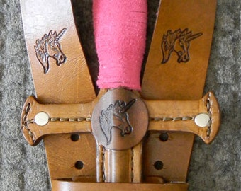DAGGER & sword BELT set w/ Unicorn Emblem - Handmade Leather