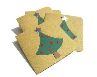 Christmas Tree Mini Cards - Set of 8 - Straw Paper