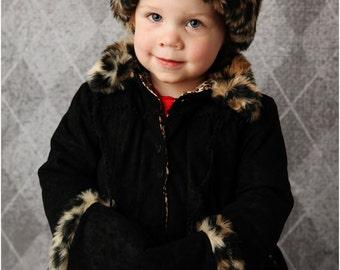 Victoria Fur Trim Hat & Muff: Girls Hat Pattern, Girls Muff Pattern, Doll Muff Pattern