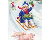 Pig Holiday Card - Girl Sled Rides with Pigs - Christmas New Year God Jul