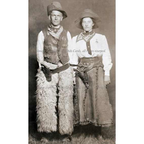Cowboy Couple Greeting Card - Cowgirl Wild West Performers