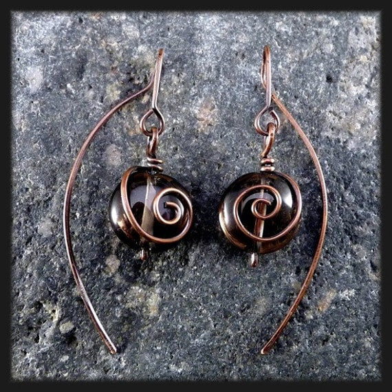RESERVED FOR ESTELLE. Copper Earrings with Smoky Quartz. Contemporary.
