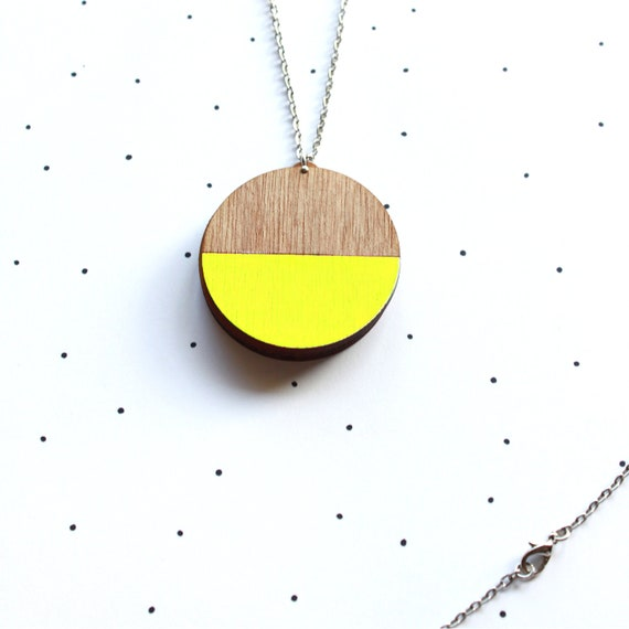 Wooden Laser Cut Neon Yellow Dipped Photo Locket - SALE