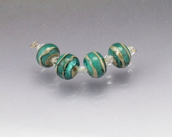 Lampwork glass bead set MADE to ORDER teal blue handmade round beads handmade Sea Rocks Anne Londez SRA