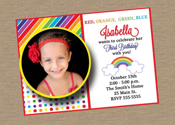 Rainbow Birthday Invitation with Photo