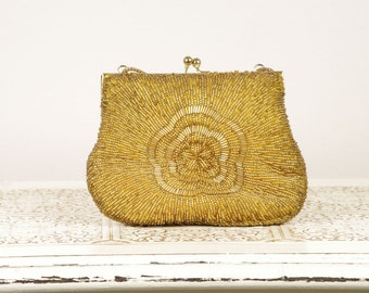 Vintage Gold Evening Bag Clutch - Beaded Purse - Made in Hong Kong by La Regale - Vintage Wedding - Gold Purse - Fashion