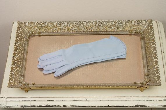 Vintage Blue Gloves - Something Blue - Wedding, Prom, Dance Gloves