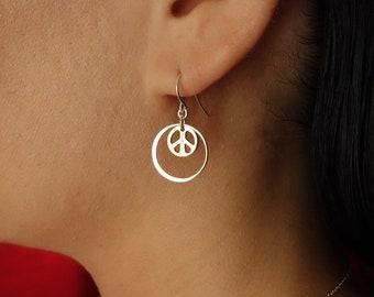 4th of July FOREVER Peace Earrings, silver, circle earrings, bridesmaid gift, drop, dangle, hoop, bridal, yoga, spiritual