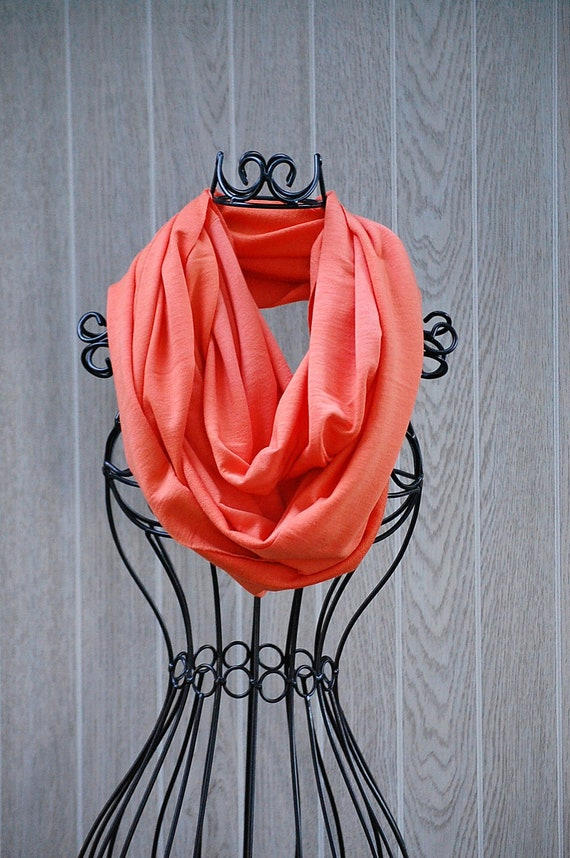 Tangerine Hand Dyed Lightweight Sweatshirt INFINITY SCARF-Eternity Scarf- Circle Loop Scarf -Scarf Cowl by The Accessories Nook