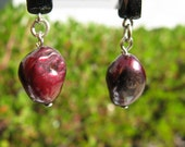 Black Glass and Red Pearl Dangle Earrings
