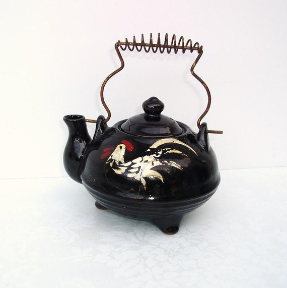 Vintage Brown Teapot Hand painted Rooster Japan Tea Pot Mini 1960s Shabby Chic