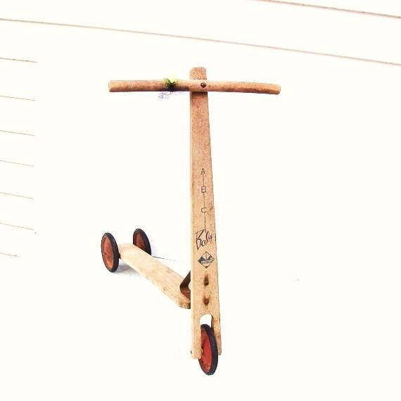 Antique Scooter, Wood Scooter, Kick Bikes, Old Riding Toy