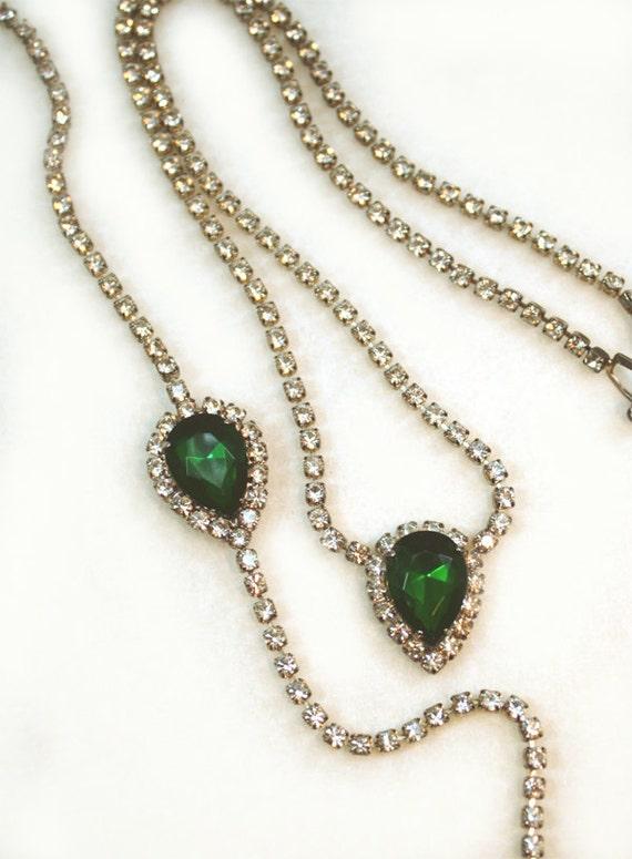 Emerald Green Crystal Diamante Necklace Bracelet Rhinestone Jewelry Set Parure Jewellery Womens Bridal Wedding 1940s 40s